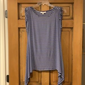 Chaus Blue and White Stripe Top
